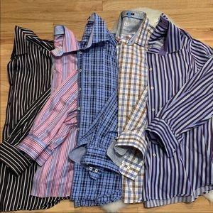 EUC Bugatchi Classic Fit Shirts, Lot of 5. Large.